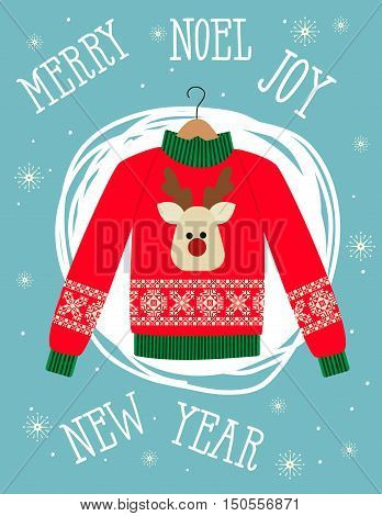 illustration of a red Christmas sweater with deer.Funny holiday background. Bright Christmas card.
