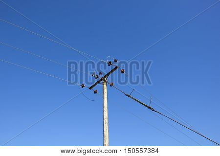 Telegraph Pole And Blue Sky