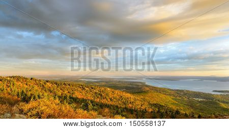 New England Coastline in Autumn with Panorama View