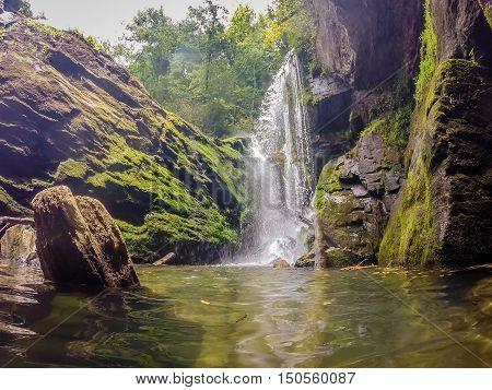 Waterfalls In The Mountains On Lake Jocassee South Carolina