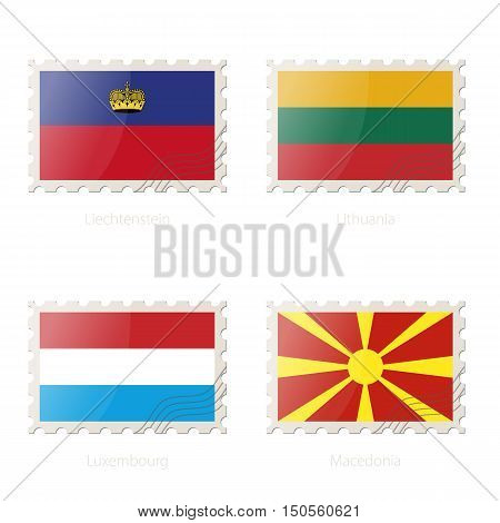 Postage Stamp With The Image Of Liechtenstein, Lithuania, Luxembourg, Macedonia Flag.