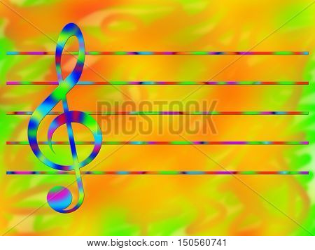 Multicolored treble clef and stave on the bright color background