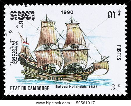 CAMBODIA - CIRCA 1990 : Cancelled postage stamp printed by Cambodia, that shows Old sailing ship.