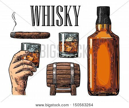 Whiskey glass with ice cubes barrel bottle and cigar. Vector vintage color illustration for label poster invitation to a party. Isolated on white background. Hand drawn design element.