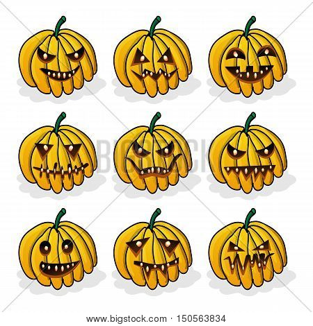 Vector icons set with scary faces of Halloween pumpkin. Emotion Variation. Cartoon style design elements. Jack-o-lantern facial expressions Illustration