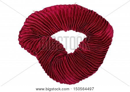 Red hair scrunchy isolated on white background with clipping path