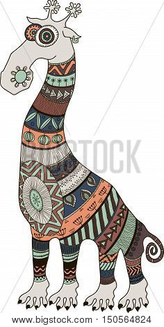 Crazy zoo. Polynesian maori and african style tattooed cartoon giraffe vector illustration