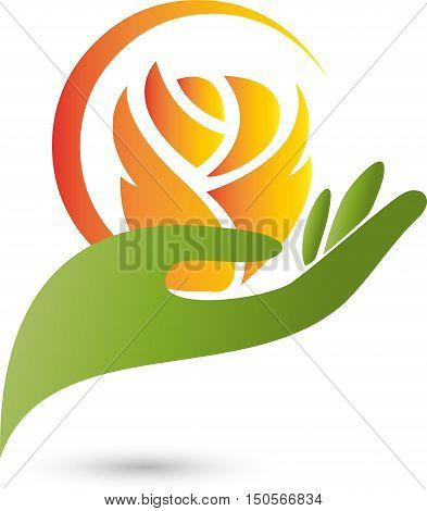 Hand in green, flower logo, rose, vector