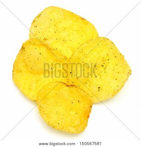 Potato chips isolated on white background. Dry.