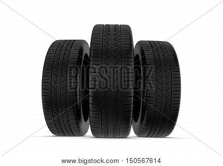 3d rendering black tires, isolated on white background. Rubber and caoutchouc. Transport and Transportation.
