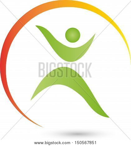 Huan and circle, fitness, health, naturopathic logo