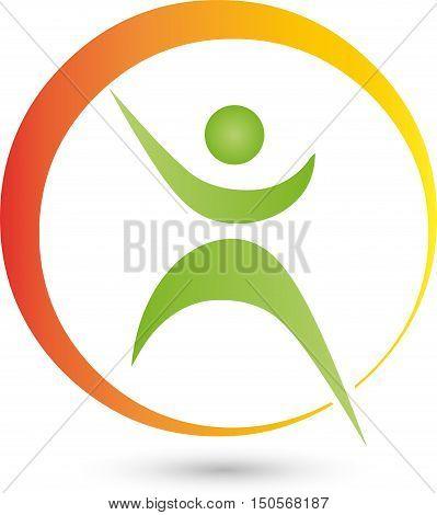 Human and circle, fitness, health, naturopathic logo