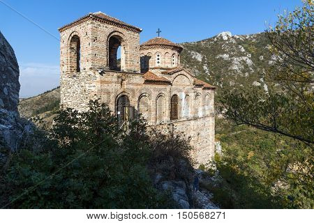 Church of the Holy Mother of God in Asen's Fortress and Rhodopes mountain, Asenovgrad, Plovdiv Region, Bulgaria
