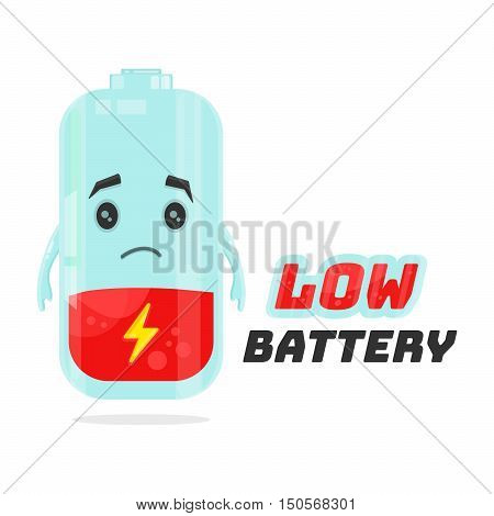 Low battery character design. Vector flat cartoon illustration. Energy power concept. Isolated on white background