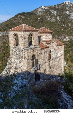 Amazing view of Church of the Holy Mother of God in Asen's Fortress and Rhodopes mountain, Asenovgrad, Plovdiv Region, Bulgaria