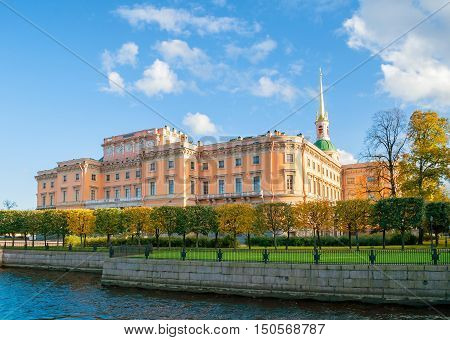 ST PETERSBURG RUSSIA-OCTOBER 3 2016. Mikhailovsky Castle or Engineers Castle in St Petersburg Russia - Northern side view of St Petersburg landmark. Architecture autumn view of St Petersburg Russia