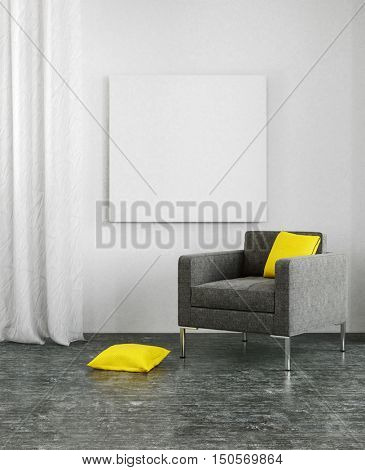 Yellow pillows on black sofa and dark floor in 3D scene with copy space on wall and frame