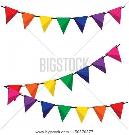Colorful bunting and garland set vector illustration. Birthday decoration elements flags