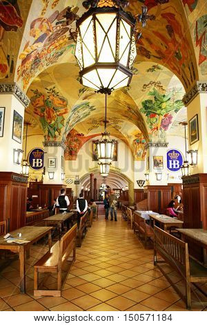 MUNICH, GERMANY - MAY 20, 2016: Interior of Hofbraeuhaus beer house in Munich