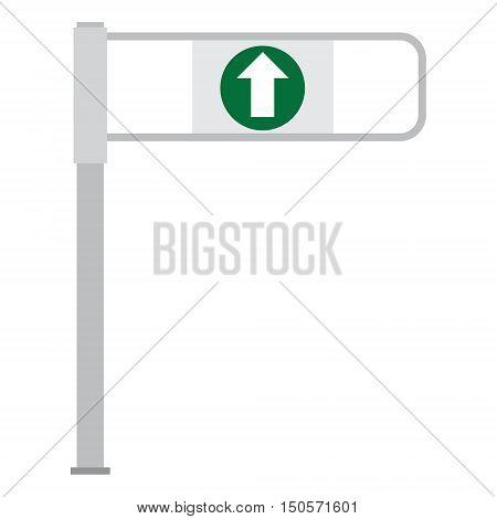 Vector illustration shop entrance gate with green arrow. Turnstile. Supermarket go barrier