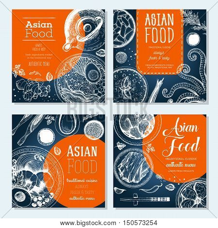 Asian food banner set. Asian food square banner collection. Linear graphic