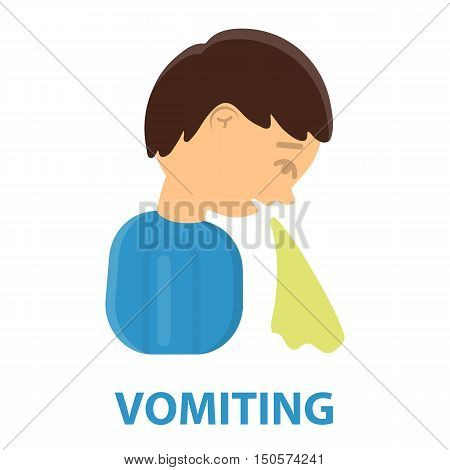Vomiting icon cartoon. Single sick icon from the big ill, disease collection.