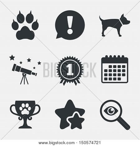 Pets icons. Cat paw with clutches sign. Winner cup and medal symbol. Dog silhouette. Attention, investigate and stars icons. Telescope and calendar signs. Vector