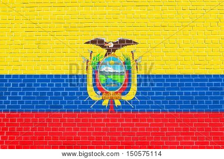 Ecuadorian national official flag. Patriotic symbol banner element background. Accurate dimensions. Correct size colors. Flag of Ecuador on brick wall texture background, 3d illustration