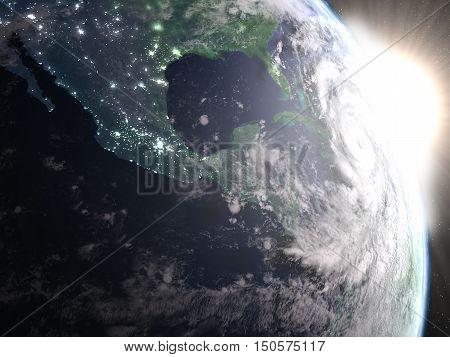 Hurricane Matthew During Sunrise From Space