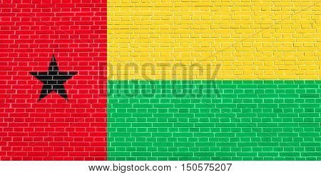 Bissau-Guinean national official flag. African patriotic symbol banner element background. Accurate dimensions. Correct size colors. Flag of Guinea-Bissau on brick wall texture background, 3d illustration