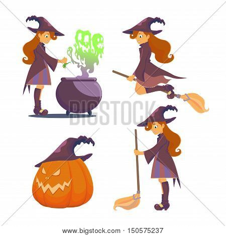 Set for Halloween. Big pumpkin with hat. Witch brews a potion scary boilers of steam escapes green like ghosts. The witch flies on a broom holding a broom in his hand.