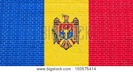 Moldovan national official flag. Patriotic symbol banner element background. Accurate dimensions. Correct size colors. Flag of Moldova on brick wall texture background, 3d illustration