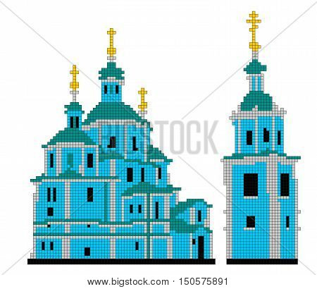 Vector scheme for embroidery Resurrection Cathedral in Sumy.   Image Resurrection Cathedral consists of squares of different colors.