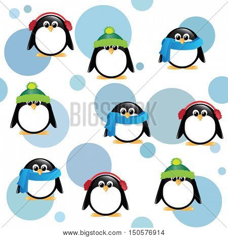 A seamless background of cute cartoon penguins, wearing winter hats, scarves and earmuffs, on blue spotted background.