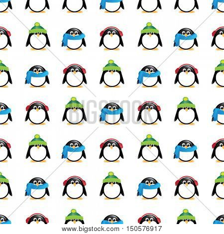 A seamless background of cute cartoon penguins, wearing winter hats, scarves and earmuffs, on colourful checkered background.