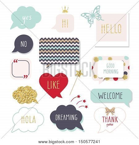 Cute speech bubbles with hand written words. Girly stickers set in bright colors with gold glitter. Thank You Good Morning Welcome and Hello lettering.