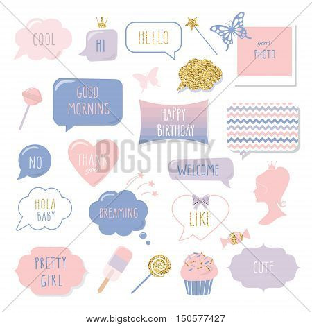 Cute hand drawn speech bubbles and frames with hand written words. Girly stickers set with gold glitter. Happy Birthday Thank You Good Morning Welcome and Hello lettering.