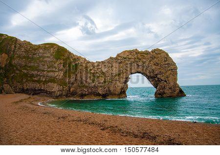 Durdle door along the Jurassic coast of Dorset, England.