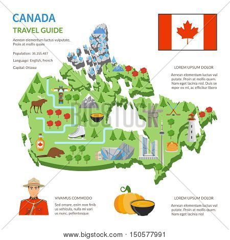 Canada travel guide for tourists flat infographic poster with country map landmarks and cultural symbols vector illustration