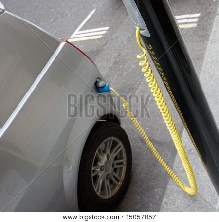 An electronic car chargingin the city