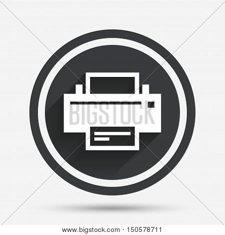 Print sign icon. Printing symbol. Print button. Circle flat button with shadow and border. Vector