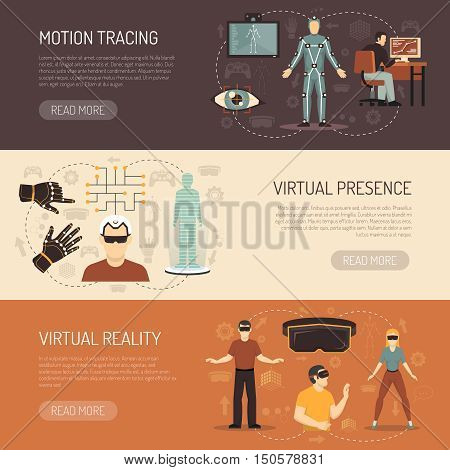 Virtual reality horizontal banners with gamers and devices for motion tracing eye tracking and virtual presence flat vector illustration