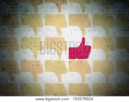 Social network concept: rows of Painted yellow thumb down icons around red thumb up icon on Digital Data Paper background