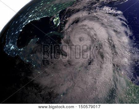 Hurricane Matthew At Night