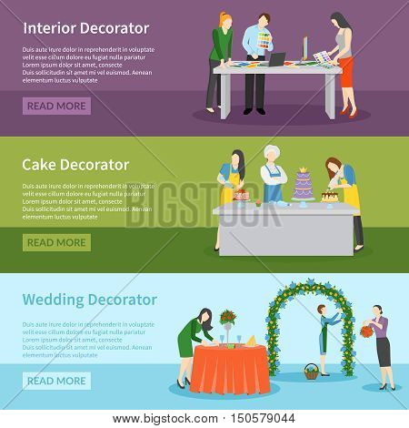 Interior design and wedding ceremony decoration ideas 3 flat banners webpage with read more button vector illustration