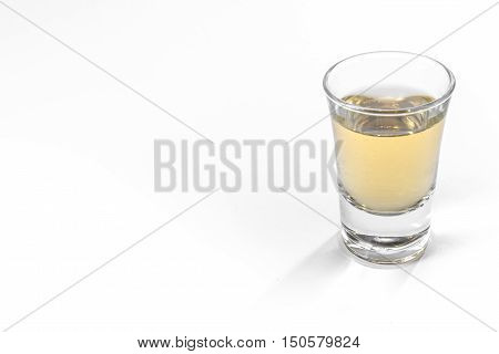 Empty Full Shot Glass Party Drinking Alcohol Beer Whiskey Clear Bourbon White Background Isolated Ob