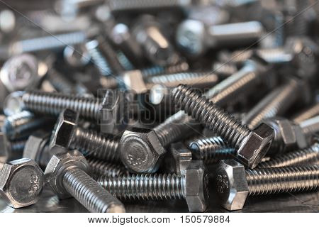 bolt metal macro photo, iron bolts background