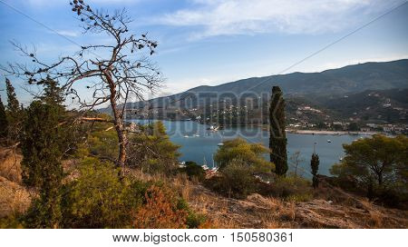 Top view of the landscape of Poros island, Greece.