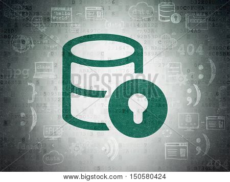 Programming concept: Painted green Database With Lock icon on Digital Data Paper background with Scheme Of Hand Drawn Programming Icons