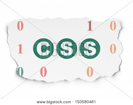 Software concept: Painted green text Css on Torn Paper background with  Binary Code